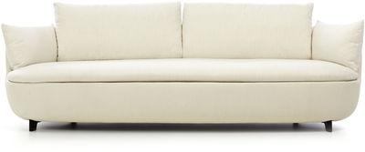 Arredamento - Divani moderni - Divano destro Bart - / L 235 cm - Gambe legno - Tessuto di Moooi - Tessuto crema / Gambe nere - Espanso, Legno, Tessuto