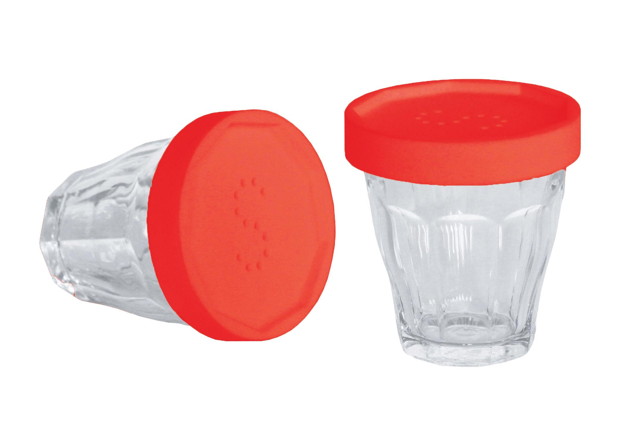 Coquetiers - Sel, poivre et épices - Ensemble salière et poivrière Monsieur Sel et Madame Poivre / Verres Duralex - Designerbox - Couvercle rouge / Transparent - Plastique TPE, Verre
