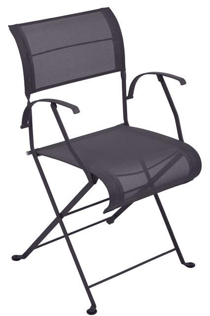 Mobilier - Chaises, fauteuils de salle à manger - Fauteuil pliant Dune / Toile - Fermob - Prune Chiné - Acier laqué, Toile polyester