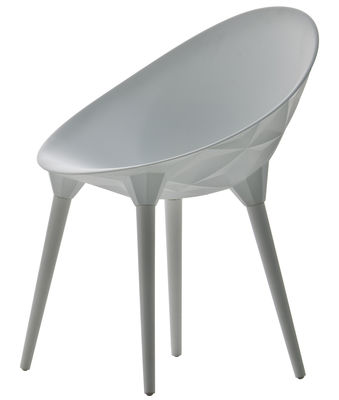 Chaise Rock / Coque plastique & pieds bois - Diesel with Moroso blanc en matière plastique