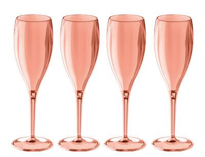 Flûte à champagne Cheers NO. 1 / Plastique - Lot de 4 - Koziol rose quartz transparent en matière plastique