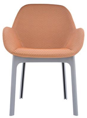 Clap Gepolsterter Sessel / mit Stoffbezug, Stuhlbeine aus Kunststoff - Kartell - Orange,Grau
