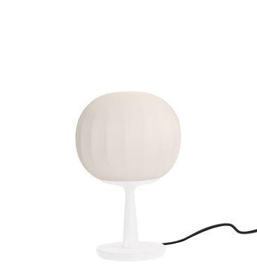 Lampe de table Lita / LED - Ø 18 cm - Luceplan blanc mat,blanc opalin en métal