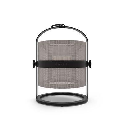 Luminaire - Lampes de table - Lampe solaire La Lampe Petite LED / Hybride & connectée - Structure charbon - Maiori - Taupe Clair / Structure charbon - Aluminium, Tissu technique