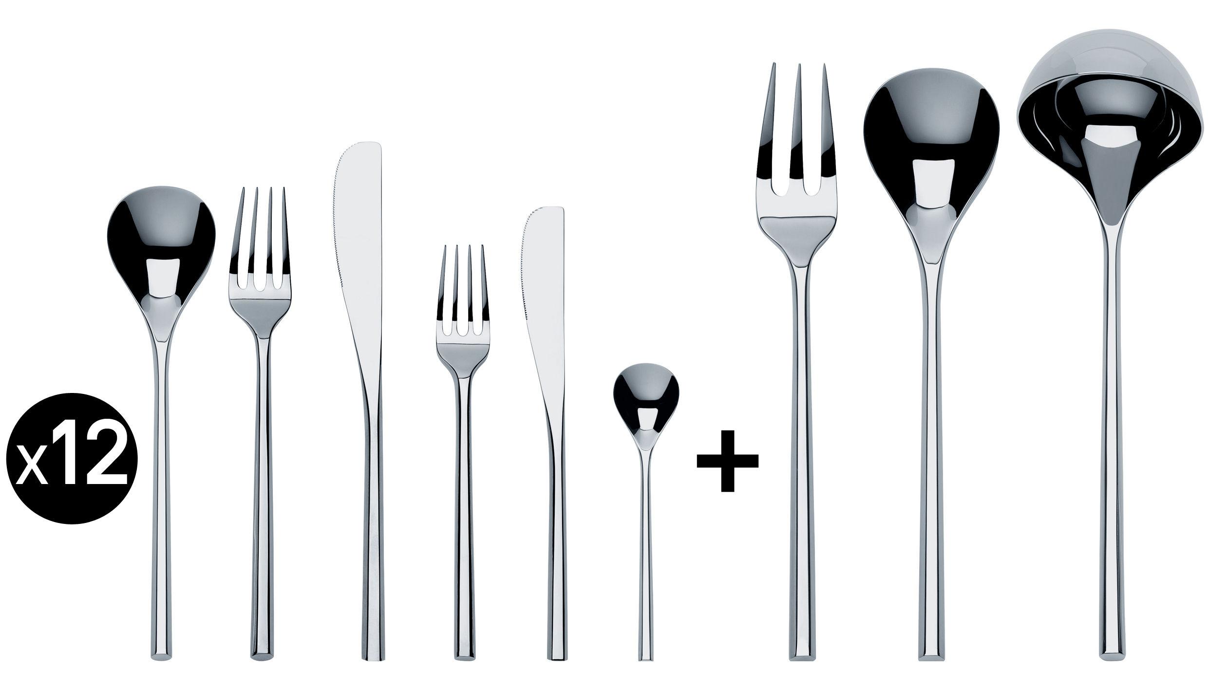 Arts de la table - Couverts de table - Ménagère Mu / Coffret 75 couverts - Alessi - Set 12 personnes / Acier - Acier inoxydable 18/10
