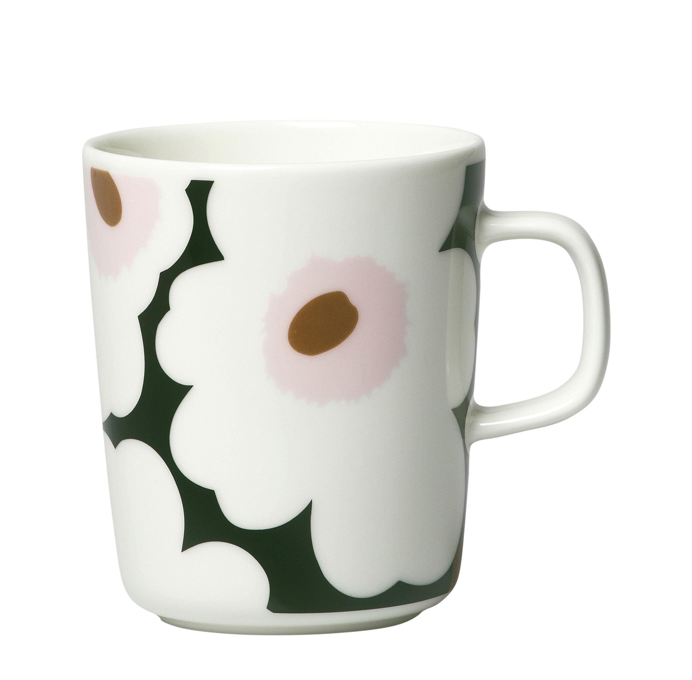 Arts de la table - Tasses et mugs - Mug Unikko / 25 cl - Marimekko - Unikko / Blanc & rose - Grès