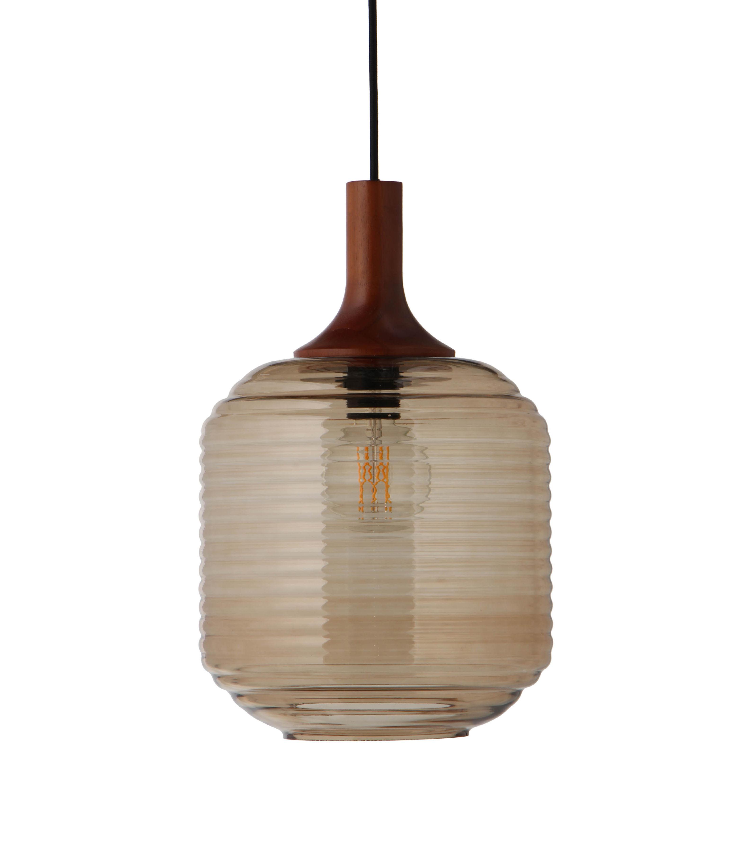 Leuchten - Pendelleuchten - Honey Large Pendelleuchte / Glas & Holz - Frandsen - Bernsteinfarben / Holz, dunkel - Bois d'hévéa teinté, Glas