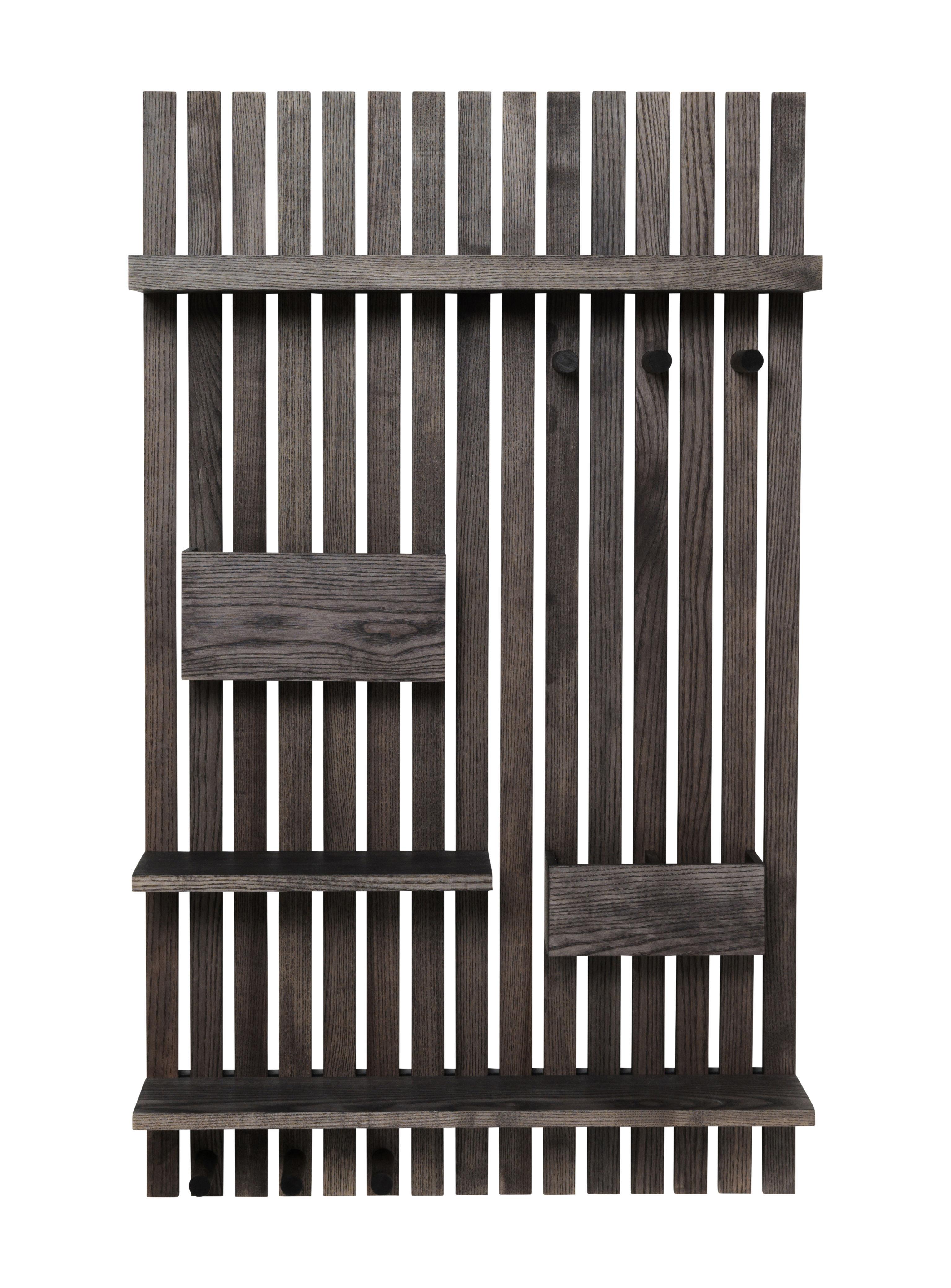 Mobilier - Meubles de rangement - Rangement mural Wooden / L 59 x H 99,7 cm - Frêne - Ferm Living - Frêne noir - Frêne teinté noir