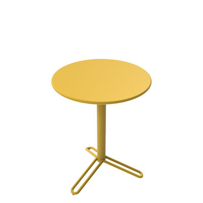 Outdoor - Garden Tables - Huggy Bistro Round table - / Ø 60 cm - Aluminium by Maiori - Mustard - Aluminium