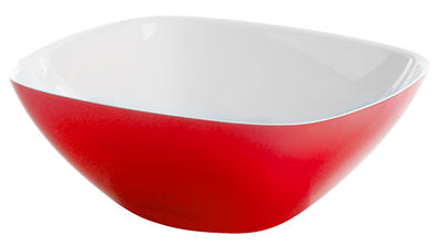 Tischkultur - Salatschüsseln und Schalen - Vintage Salatschüssel - Guzzini - Weiß - rot - Plastik mit SAN