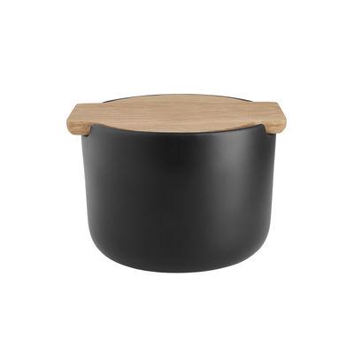 Coquetiers - Sel, poivre et épices - Salière Nordic ktichen / Pot multifonction - Couvercle bois - Eva Solo - Noir / Chêne - Chêne huilé, Grès