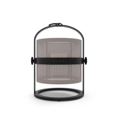 Leuchten - Tischleuchten - La Lampe Petite LED Solarlampe / kabellos - Gestell schwarz - Maiori - Helles Taupe / Gestell schwarz - Aluminium, Technisches Gewebe
