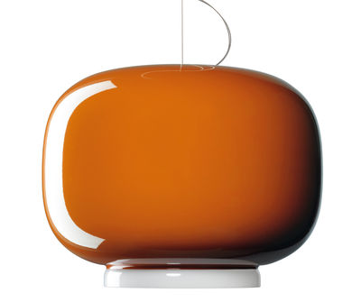 Luminaire - Suspensions - Suspension Chouchin n°1 / Ø 40 x H 31 cm - Foscarini - Orange / Bande blanche - Verre soufflé