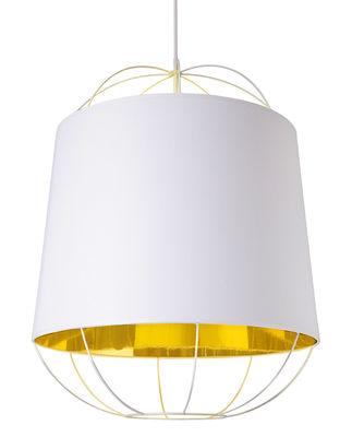 Suspension Lanterna  Medium / Ø 47 x H 60 cm - Petite Friture blanc/or en métal/tissu