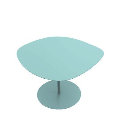 Table basse Galet n°1 / OUTDOOR - 59 x 63 - H 39,9 cm - Matière Grise bleu céladon en métal