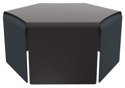 Table basse Ponant / Set de 2 - Empilables - Indoor/ Outdoor - Matière Grise bleu,aubergine en métal