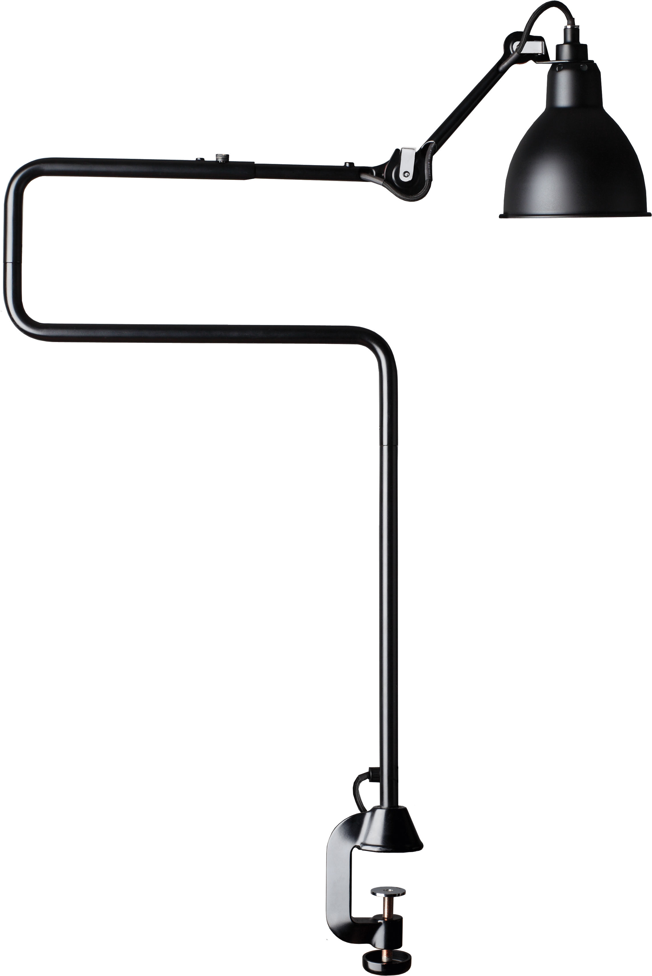 Lighting - Table Lamps - N°211-311 Table lamp - With clamp base by DCW éditions - Lampes Gras - Black diffuser / Black structure - Steel