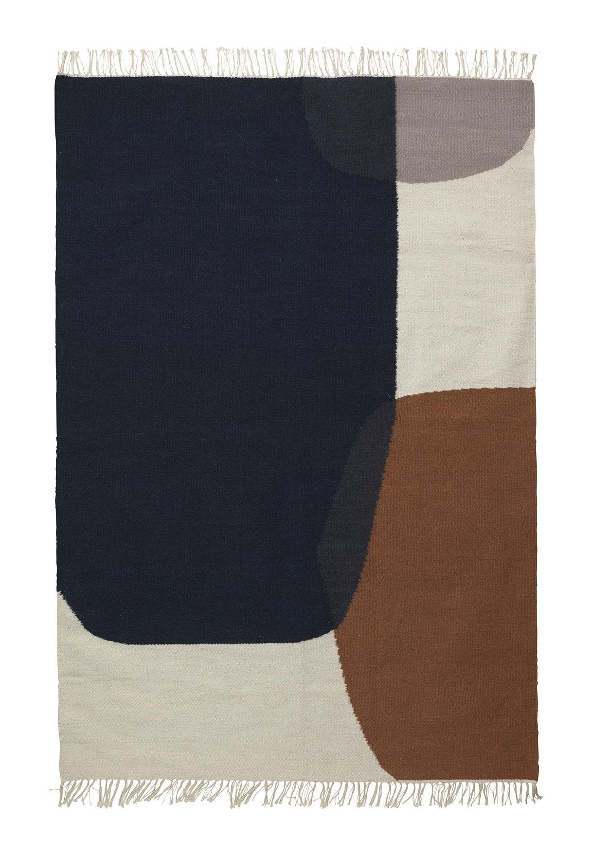 Déco - Tapis - Tapis Kelim Merge / Large - 140 x 200 cm - Ferm Living - 140 x 200 cm / Bleu & marron - Coton, Laine
