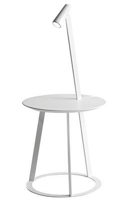 Image of Tavolino d'appoggio Albino - con lampada LED integrata di Horm - Bianco - Metallo/Legno