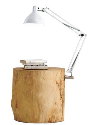Image of Tavolino d'appoggio Piantama - / H 50 cm - Con lampada di Mogg - Bianco/Legno naturale - Metallo/Legno
