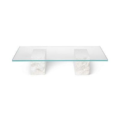 Arredamento - Tavolini  - Tavolino Mineral - / 120 x 70 cm - Marmo & vetro di Ferm Living - Bianco e trasparente - Marmo, Vetro