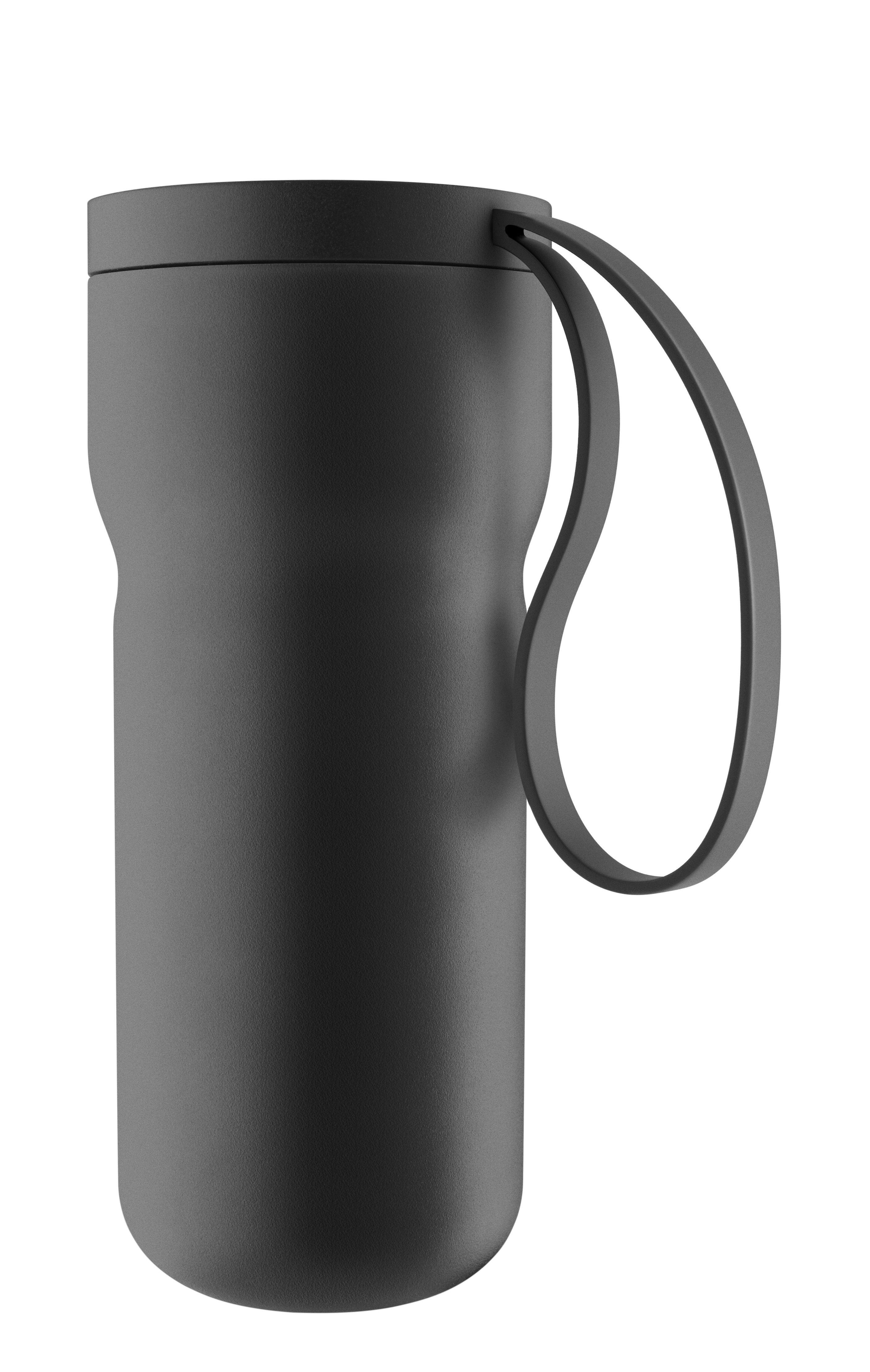 Tischkultur - Tassen und Becher - Nordic Kitchen Thermobecher / mit Teesieb - Eva Solo - Schwarz matt - Plastik, rostfreier Stahl, Silikon