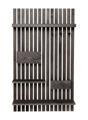 Möbel - Aufbewahrungsmöbel - Wooden Wandablage / L 59 cm x H 99,7 cm - Esche - Ferm Living - Esche schwarz - Esche, schwarzlasiert