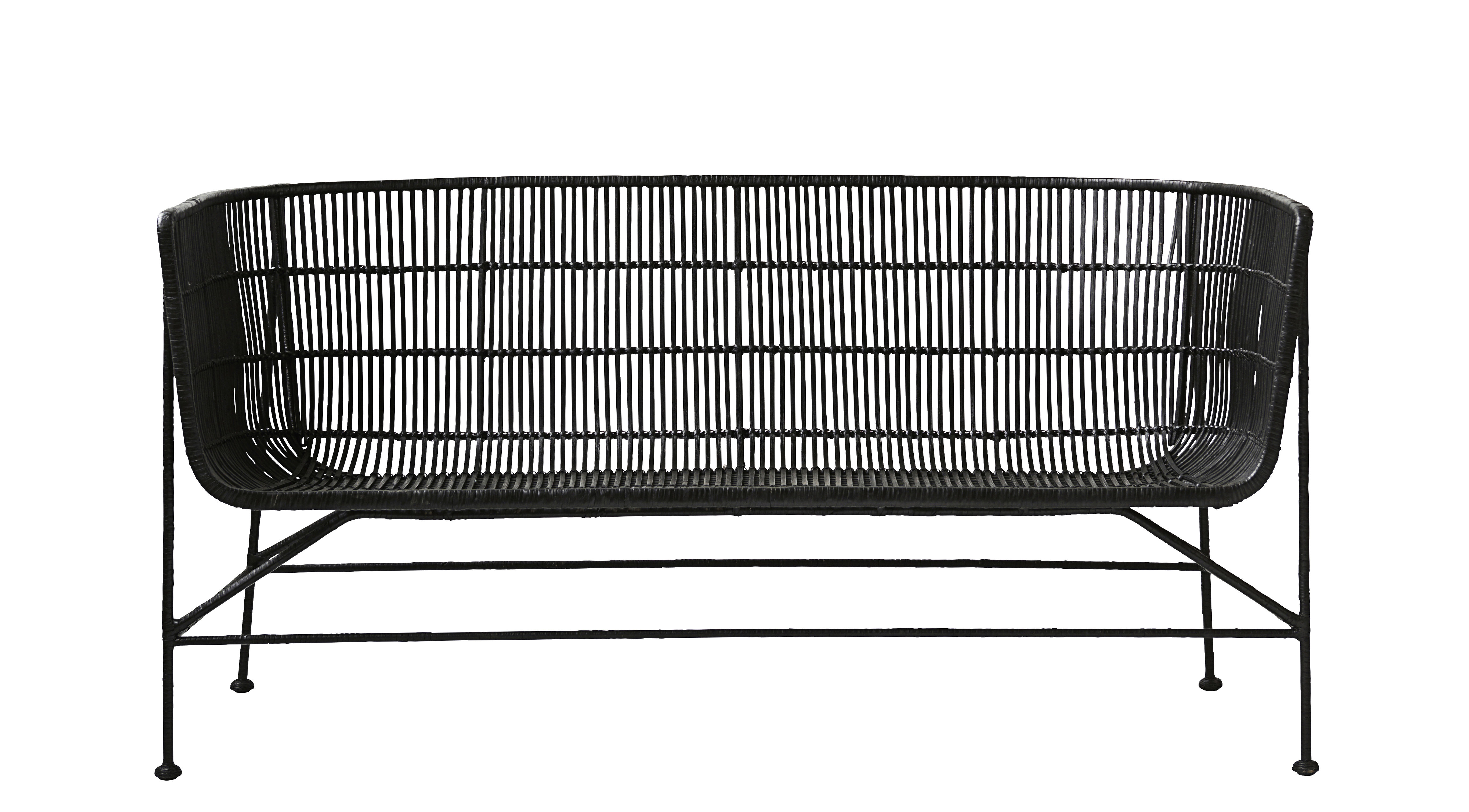 Furniture - Sofas - Cuun 2 seater sofa - / 2 seats - L 140 cm by House Doctor - Bench / Black - Iron, Rattan