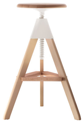 Furniture - Bar Stools - Tom Adjustable bar stool - Pivoting - Wood & plastic by Magis - Wood / White - Natural beechwood, Polypropylene