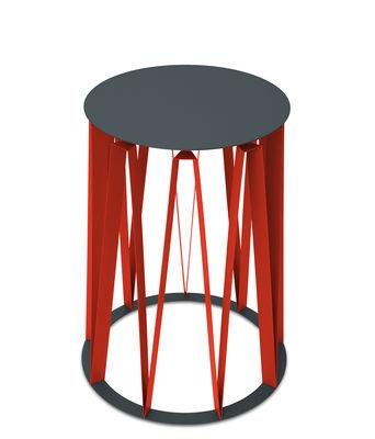 Achille Beistelltisch / Ø 45 cm x H 58 cm - Metall - Presse citron - Rot,Granit