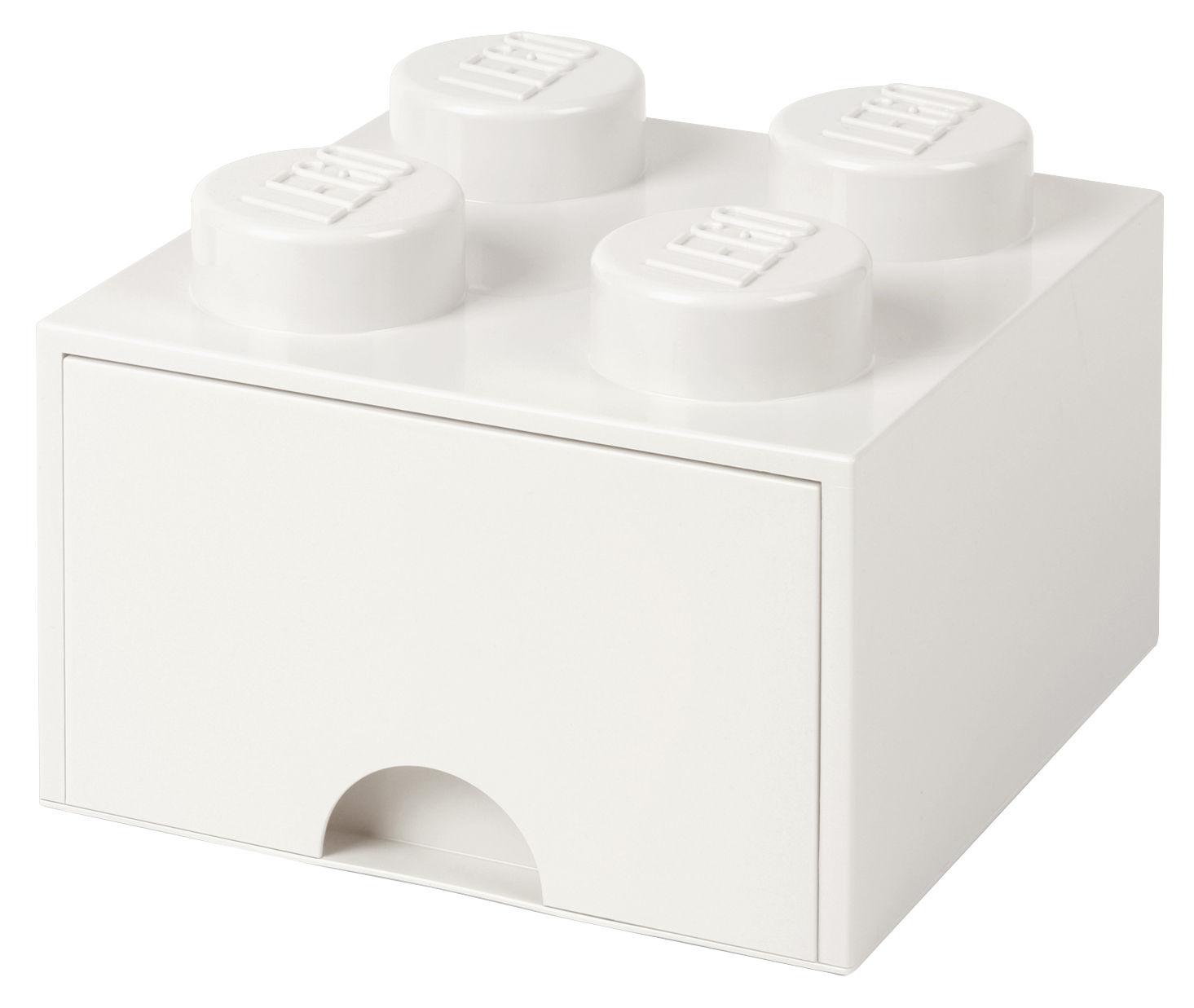 Déco - Pour les enfants - Boîte Lego® Brick / 4 plots - Empilable - 1 tiroir - ROOM COPENHAGEN - Blanc - Polypropylène