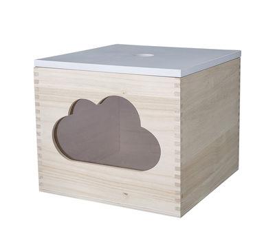 Boîte Nuage / avec couvercle - Bloomingville blanc,bois naturel en bois