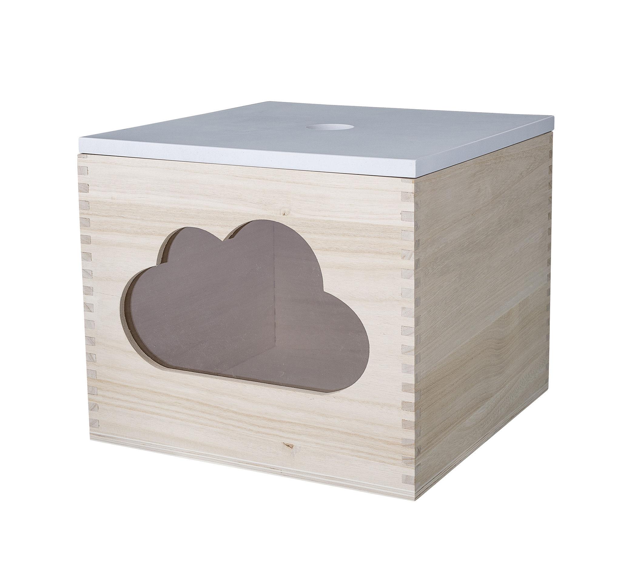 Déco - Pour les enfants - Boîte Nuage / avec couvercle - Bloomingville - Blanc / Bois naturel / Nuage - Bois de paulownia