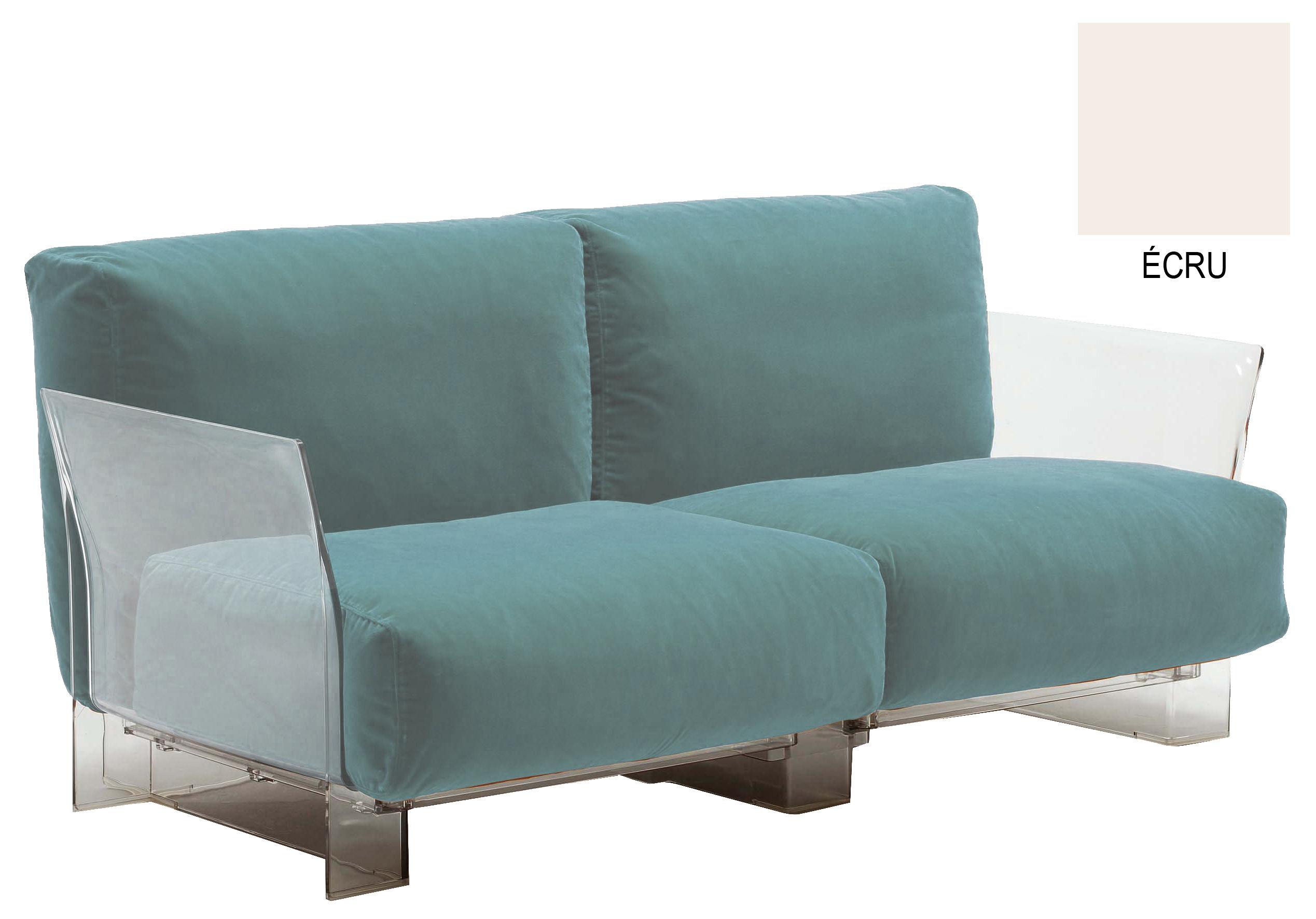 Mobilier - Canapés - Canapé droit Pop / 2 places - L 175 cm - Kartell - 2 places - Tissu écru - Coton, Polycarbonate