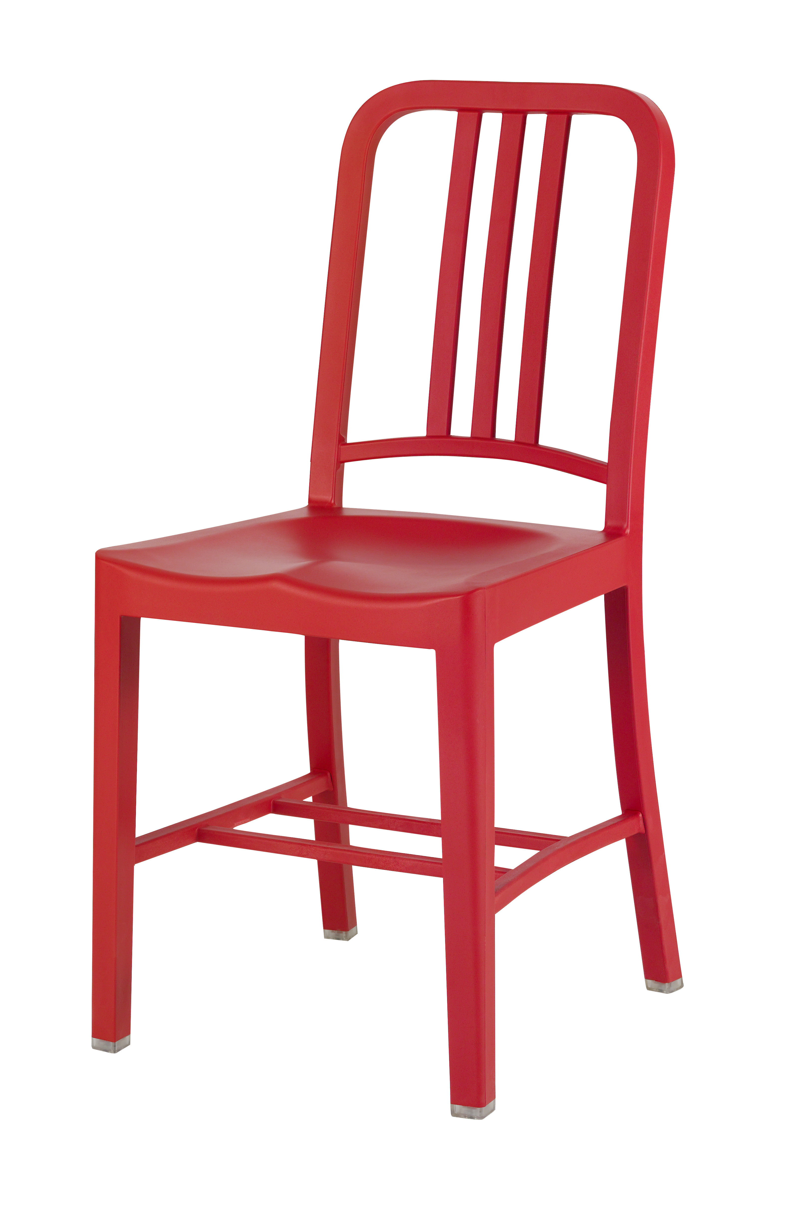 Furniture - Chairs - 111 Navy chair Chair - Recycled plastic by Emeco - Red - Fibreglass