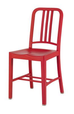 Mobilier - Chaises, fauteuils de salle à manger - Chaise 111 Navy chair Outdoor / Plastique recyclé - Emeco - Rouge (outdoor) - Fibre de verre