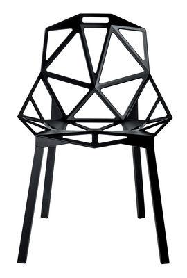 Mobilier - Chaises, fauteuils de salle à manger - Chaise empilable Chair one / Métal - Magis - Noir / Pieds noirs - Aluminium verni, Fonte d'aluminium verni