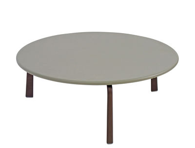 Furniture - Coffee Tables - Cross Large Coffee table - / Ø 80 cm - Metal by Emu - Grey / India brown legs - Varnished steel