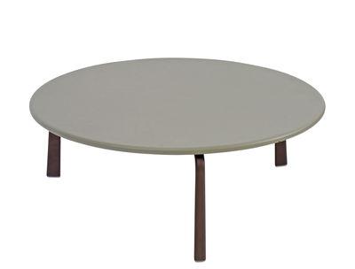 Cross Large Couchtisch / Ø 80 cm - Metall - Emu - Grau,Indisch-Braun
