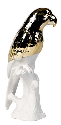 Interni - Oggetti déco - Decorazione Perroquet - / Porcellana - H 35 cm di Pols Potten - Pappagallo / Bianco & oro - Porcellana