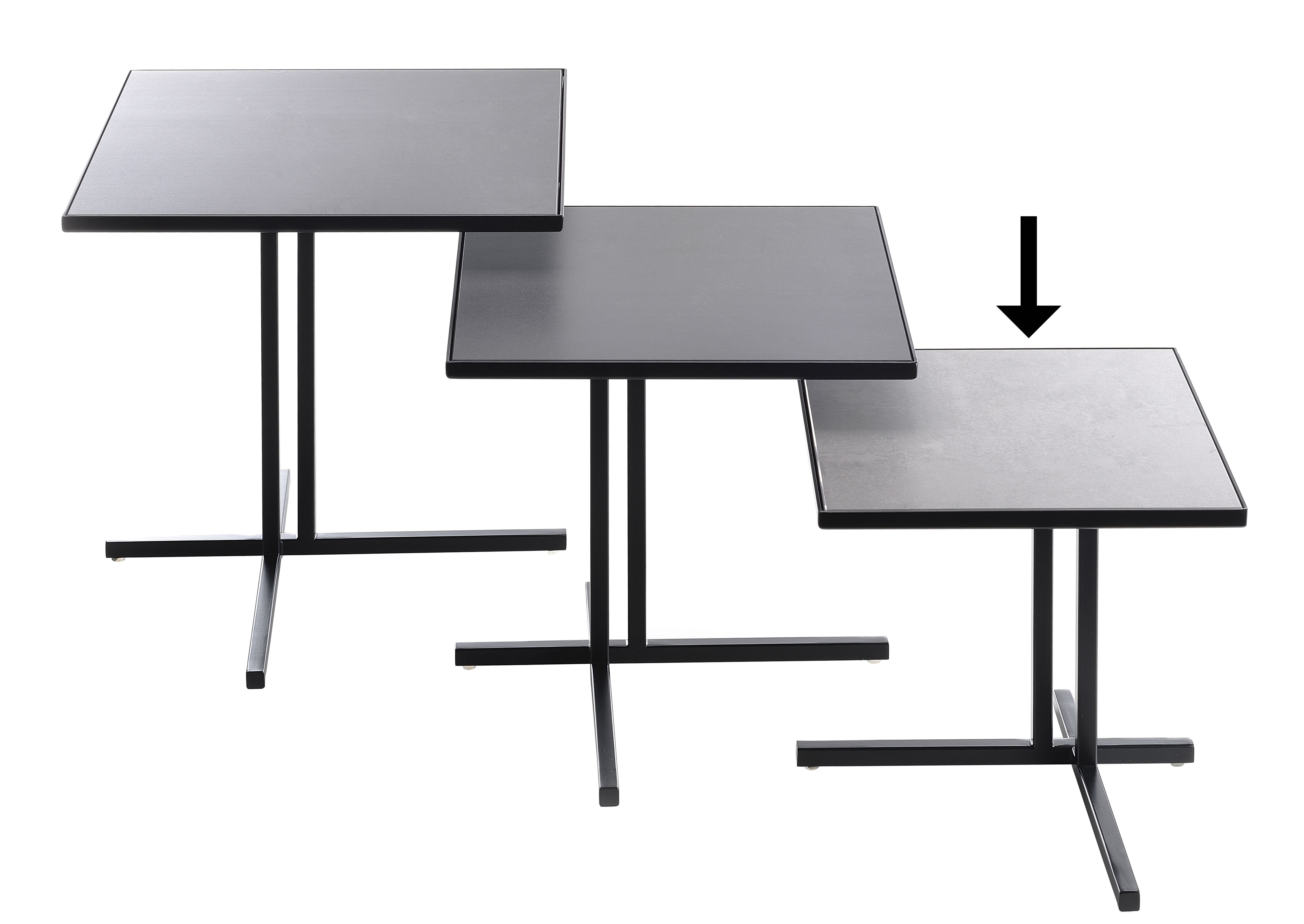 Furniture - Coffee Tables - K End table by MDF Italia - H 30 cm / Matt anthracite -  Grès cérame recyclé, Painted steel