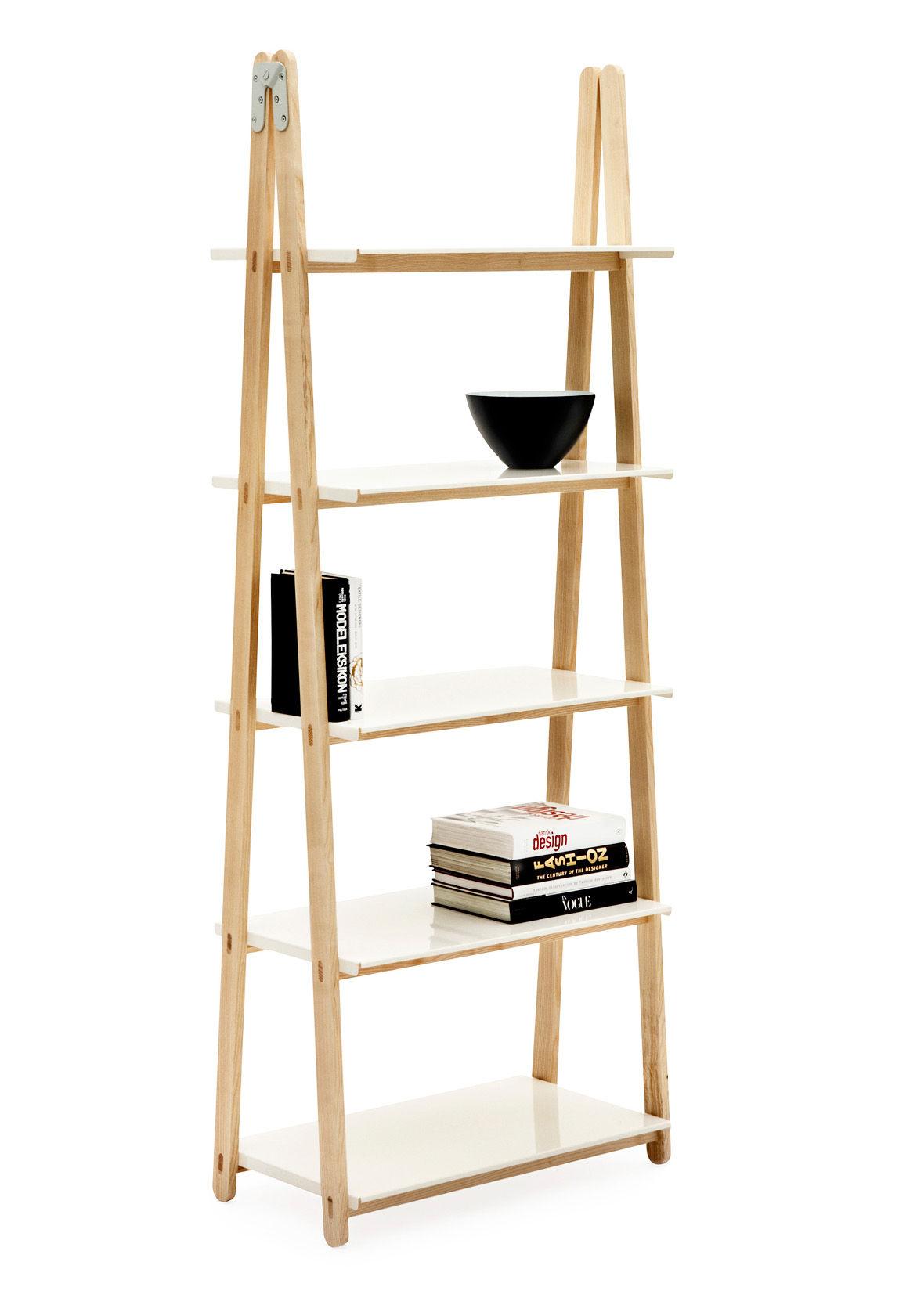 Mobilier - Etagères & bibliothèques - Etagère One Step Up / H 200 cm - Normann Copenhagen - Bois / Tablettes Blanc - Aluminium peint, Frêne