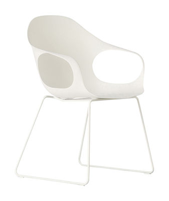 Chaise Elephant Luge Coque plastique pieds métal Kristalia blanc en matière plastique
