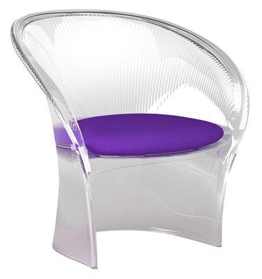 Mobilier - Mobilier d'exception - Fauteuil Flower / Structure cristal - Coussin tissu - Magis - Cristal / Coussin tissu Violet - Polycarbonate, Tissu