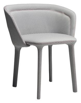Mobilier - Chaises, fauteuils de salle à manger - Fauteuil rembourré Lepel / Tissu - Casamania - Tissu Innofa gris / Couture rouge - Métal, Mousse polyuréthane, Tissu