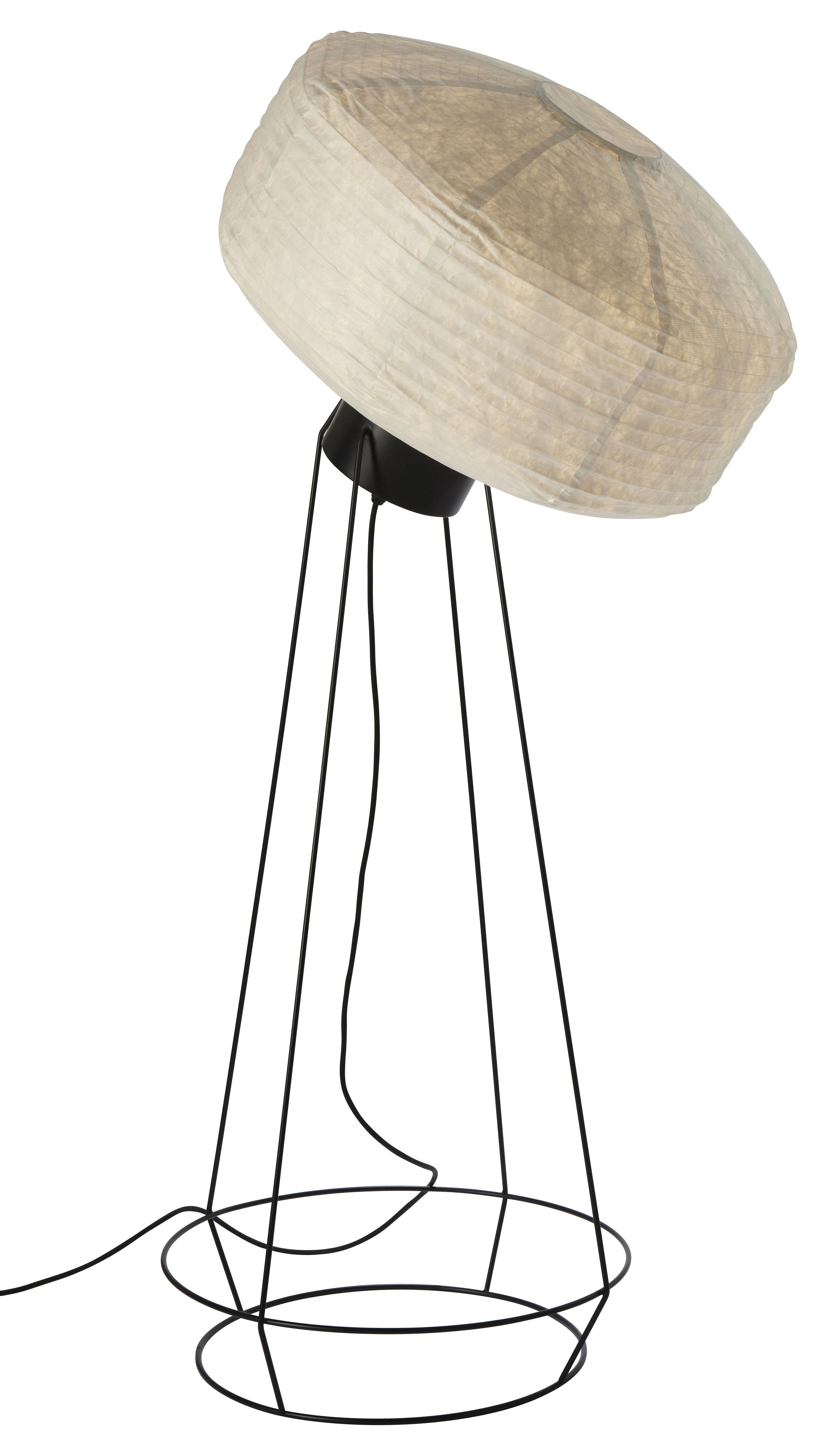 Lighting - Floor lamps - Cage Floor lamp - H 125 cm by Forestier - Black - Lacquered metal, Tyvek
