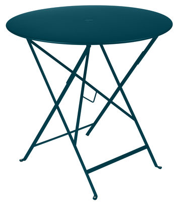 Outdoor - Garden Tables - Bistro Foldable table - / Ø 77 cm - Hole for parasol by Fermob - Acapulco blue - Lacquered steel
