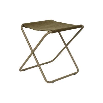 Furniture - Stools - Desert folding stool - / Recycled plastic bottles - Olive structure by Ferm Living - Olive metal / Plain Olive Fabric - Powder coated steel, Recycled fabric