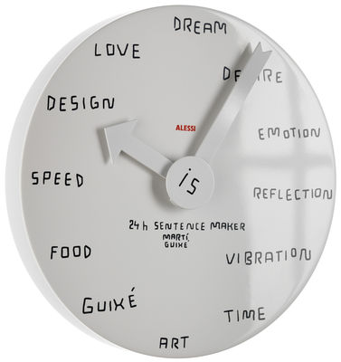 Déco - Horloges  - Horloge murale 24h Sentence Maker - Alessi - Blanc - Aluminium