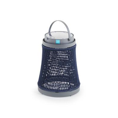 Image of Lampada solare Solare - / corda sintetica - H 40 cm / Ricarica solare o USB di Unopiu - Blu - Tessuto